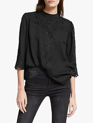 AND/OR Lydia Lace Detail Blouse, Black