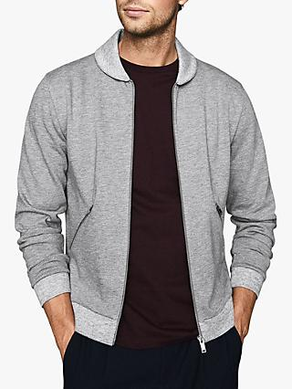 Reiss Harrison Zip Through Sweatshirt, Grey
