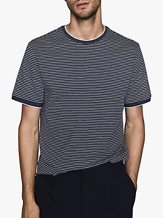 Reiss Greenwich Stripe Crew Neck T-Shirt, Navy/White