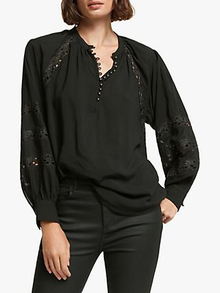 AND/OR Izzie Cutwork Blouse, Black