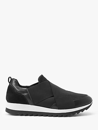 John Lewis & Partners Designed for Comfort Elda Leather and Suede Slip-On Trainers, Black