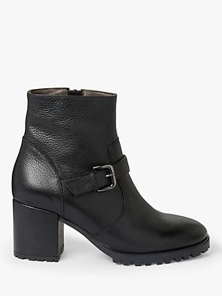 John Lewis & Partners Prinki Leather Buckled Ankle Boots, Black