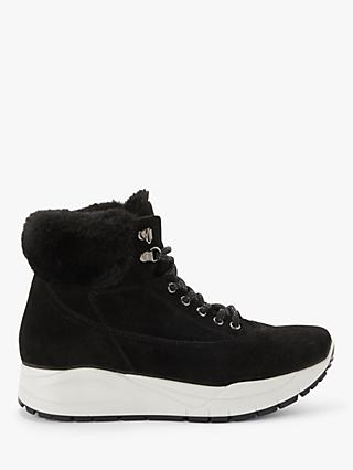 Kin Ffion Suede Platform Faux Fur Trainers, Black