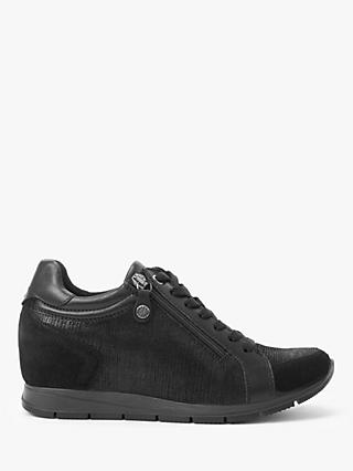 John Lewis & Partners Designed for Comfort Elora Leather Wedge Trainers, Black