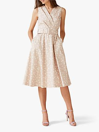 Phase Eight Polly Fit and Flare Spot Dress, Latte