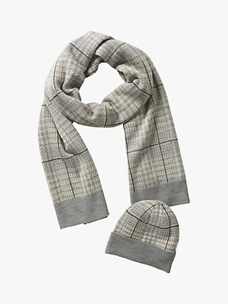 Betty Barclay Check Hat and Scarf Set, Cream/Grey