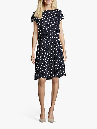 Betty Barclay Polka Dot Print Dress, Dark Blue/Cream