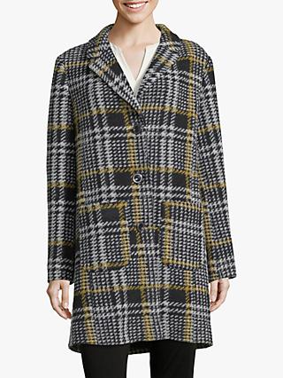 Betty Barclay Check Coat, Black/Yellow
