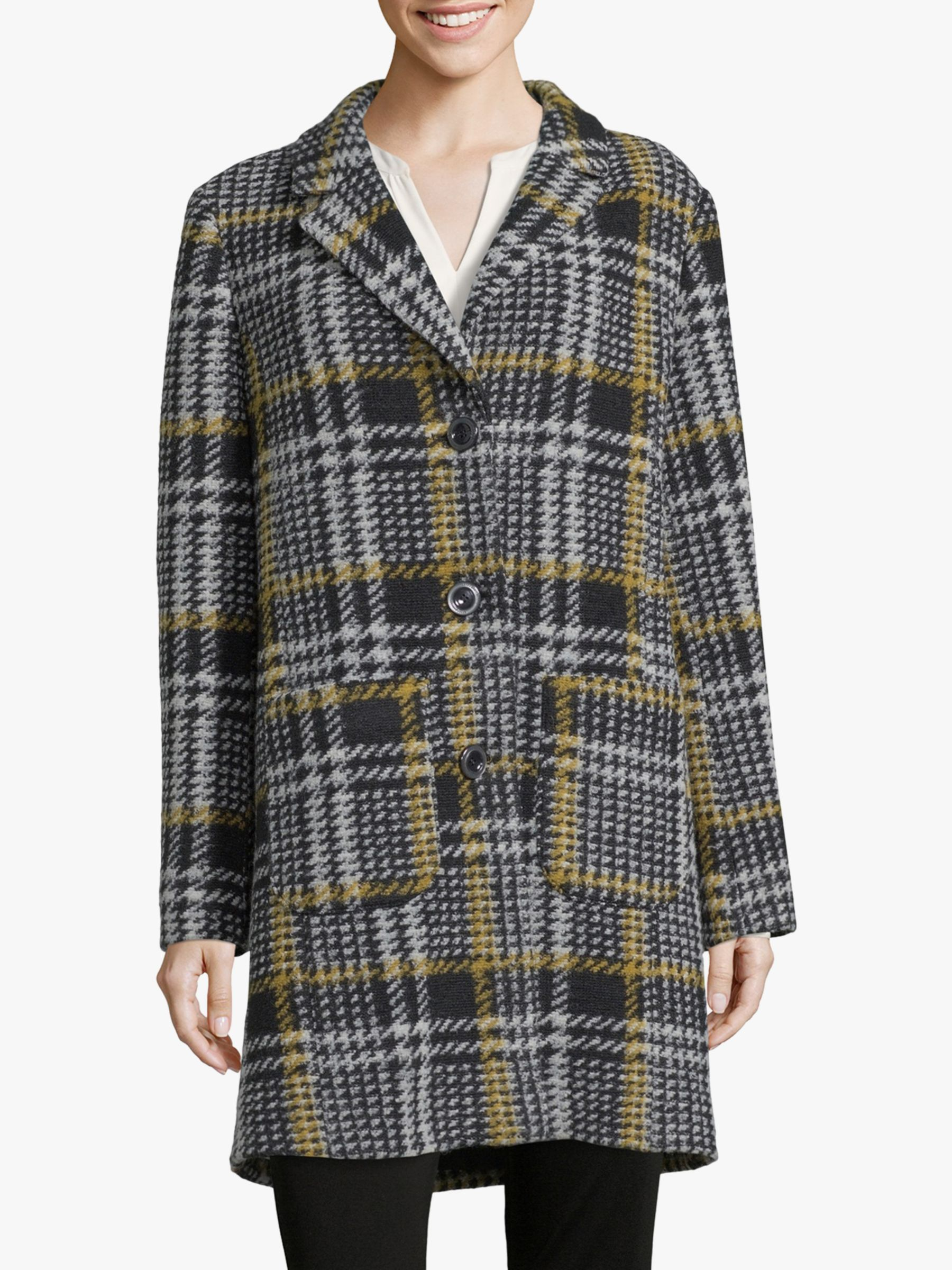 Betty Barclay Betty Barclay Check Coat, Black/Yellow