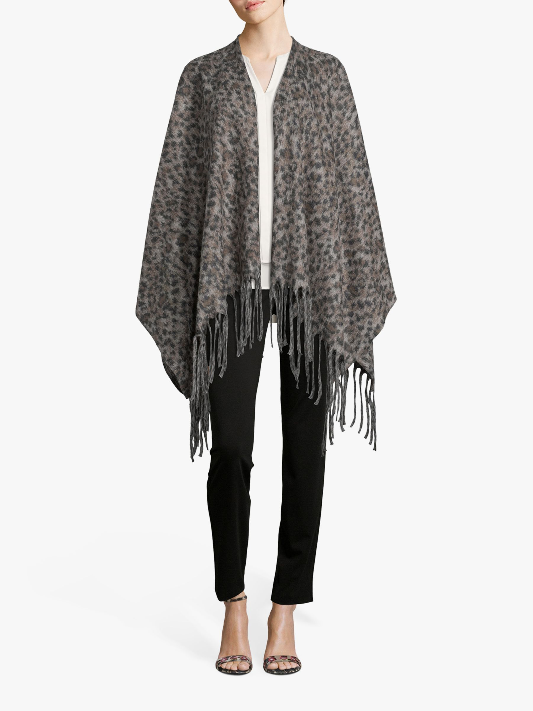 Betty Barclay Betty Barclay Animal Knitted Cape, Taupe/Black