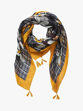 Betty Barclay Floral Print Scarf, Black/Yellow