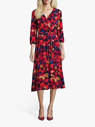 Betty Barclay Floral Print Midi Dress, Red/Dark Blue