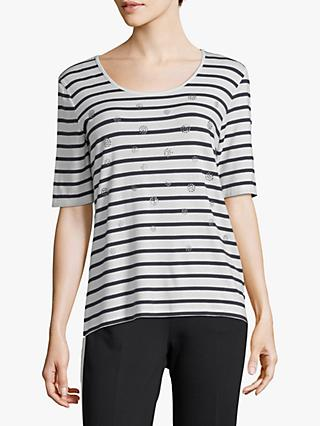 Betty Barclay Striped T Shirt Cream Dark Blue