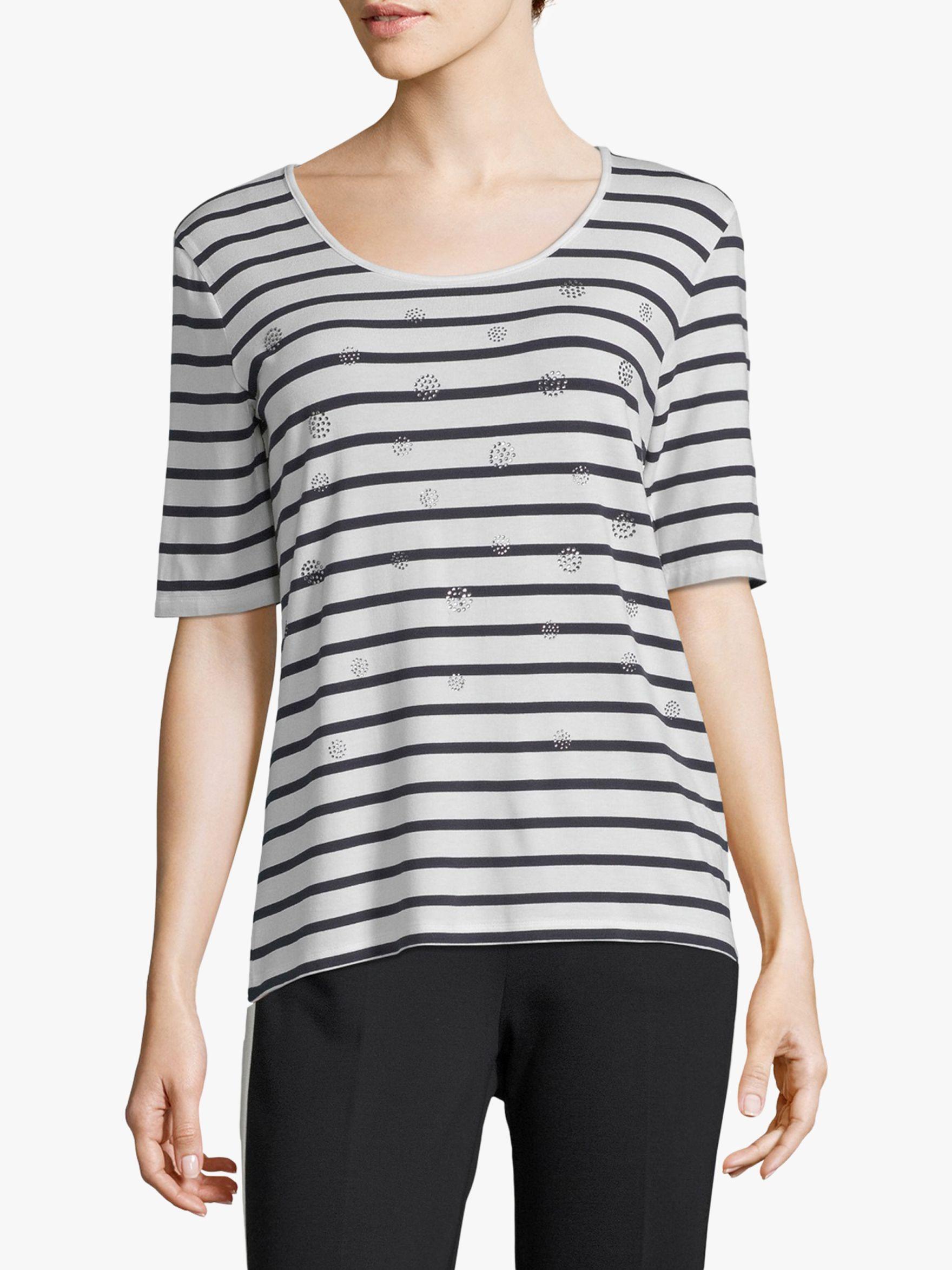 Betty Barclay Betty Barclay Striped T-Shirt, Cream/Dark Blue