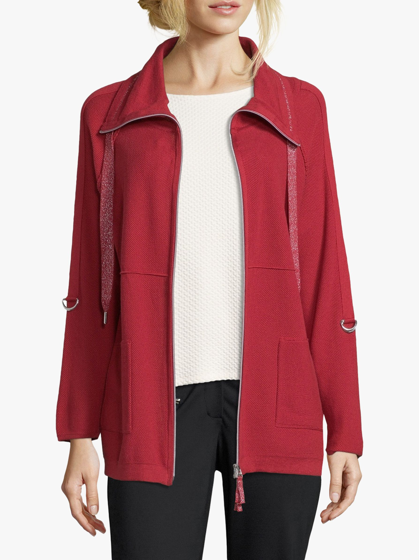 Betty Barclay Betty Barclay Funnel Neck Cardigan, Red Scarlet
