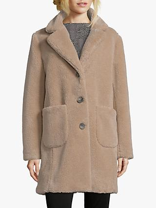 Betty Barclay Faux Sheepskin Coat, Almondine