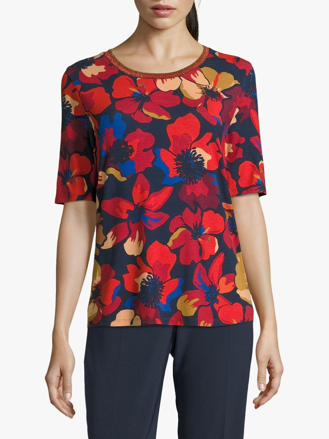 Betty Barclay Betty Barclay Floral Print Top, Red/Dark Blue