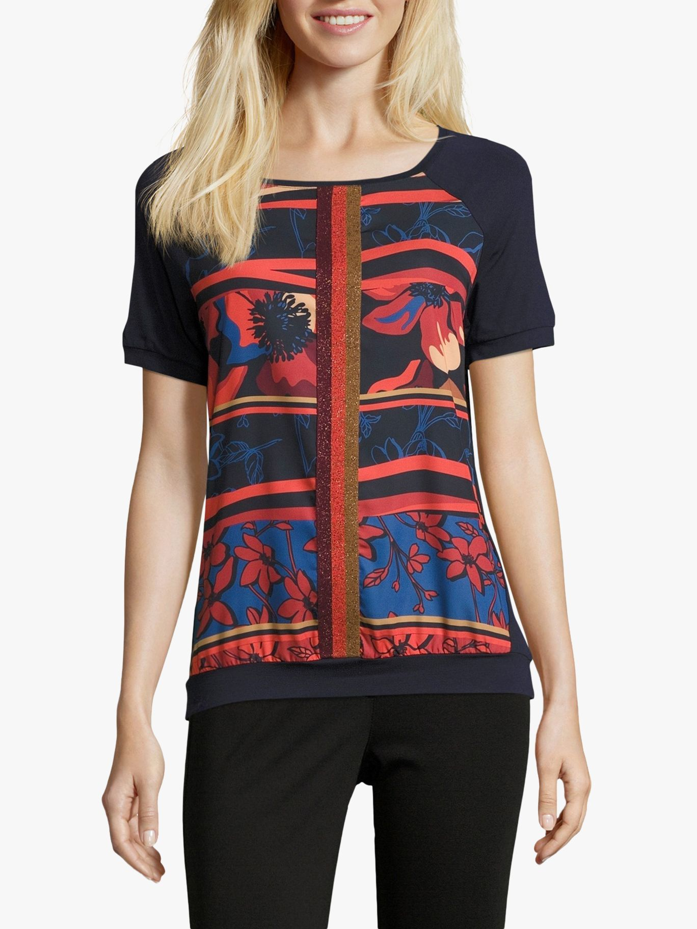 Betty Barclay Betty Barclay Floral Print Top, Dark Blue/Red