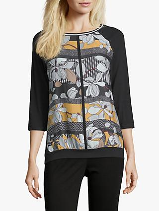 Betty Barclay Floral Print Top, Black/Yellow