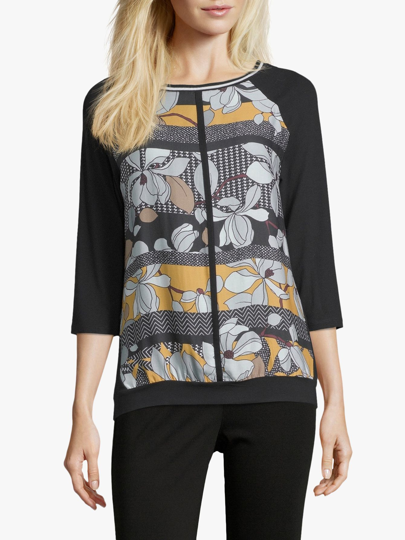 Betty Barclay Betty Barclay Floral Print Top, Black/Yellow