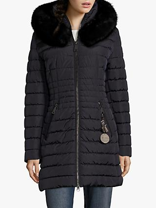 Betty Barclay Quilted Hooded Coat, Deep Navy