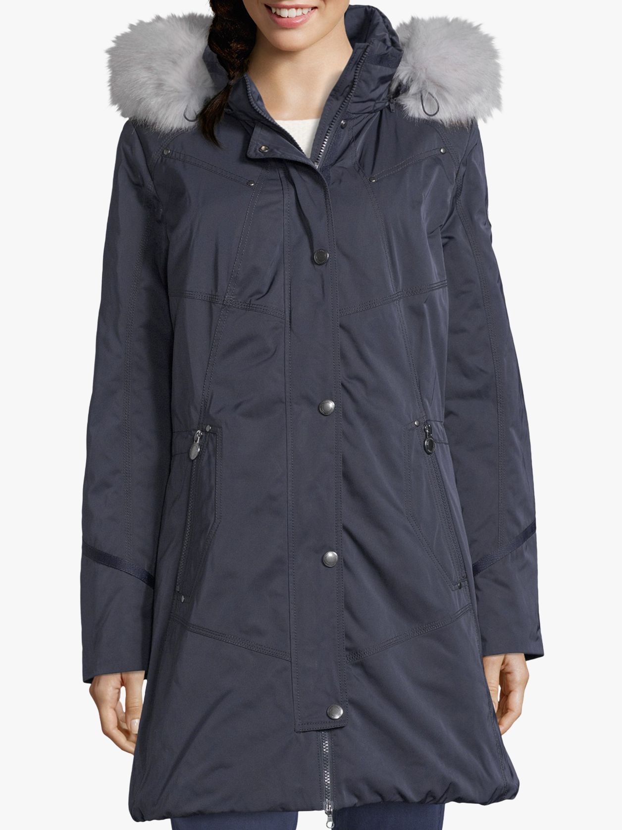 Betty Barclay Betty Barclay Quilted Hooded Coat, Navy