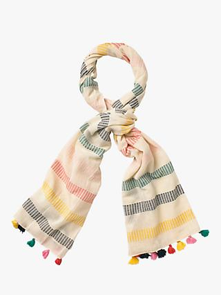 White Stuff Dash Stripe Cotton Scarf, Multi