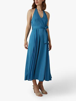 Karen Millen Pleated Halterneck Maxi Dress, Blue