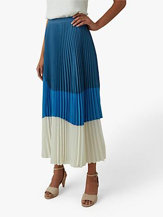 Karen Millen Colour Block Pleated Skirt, Blue/Multi