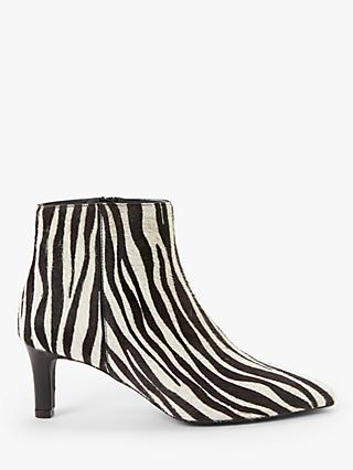 AND/OR Orela Leather Ankle Boots, Zebra Print