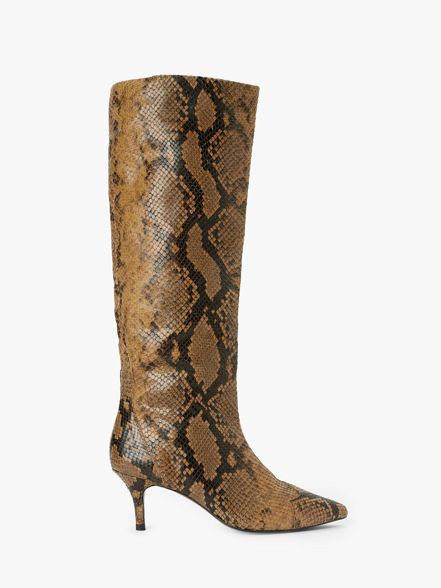 And/Or Viola Leather Snake Print Stiletto Knee High Boots, Tan by And/Or
