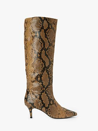 AND/OR Viola Leather Snake Print Stiletto Knee High Boots, Tan