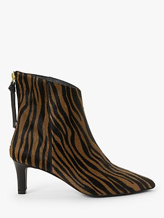 AND/OR Ola Leather Zebra Print Stiletto Ankle Boots, Brown
