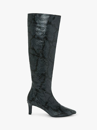 Buy AND/OR Viola Leather Snake Print Stiletto Knee High Boots, Blue, 4 Online at johnlewis.com