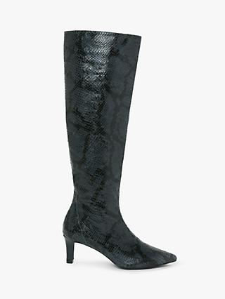AND/OR Viola Leather Snake Print Stiletto Knee High Boots, Blue