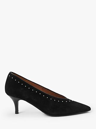 AND/OR Avolene Stud Kitten Heel Court Shoes, Black
