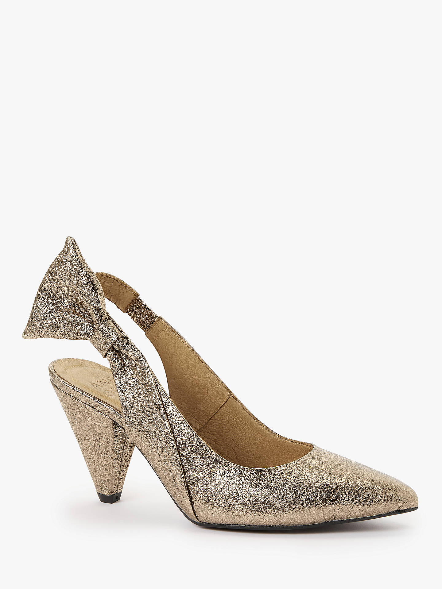 b9770498ca0a1 AND/OR Amili Leather Slingback Court Shoes, Metallic Gold