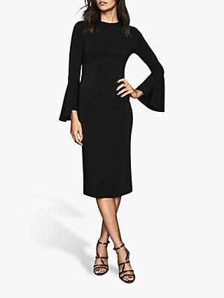 Reiss Annie Long Fluted Sleeve Bodycon Dress, Black