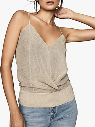 Reiss Claudia Metallic Strap Top
