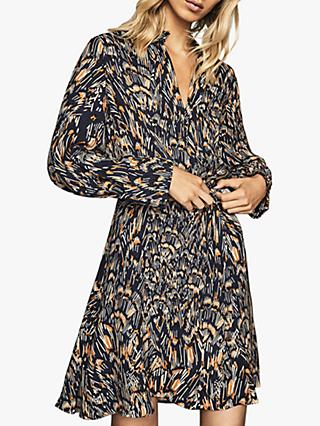 Reiss Lilia Feather Print Dress, Navy