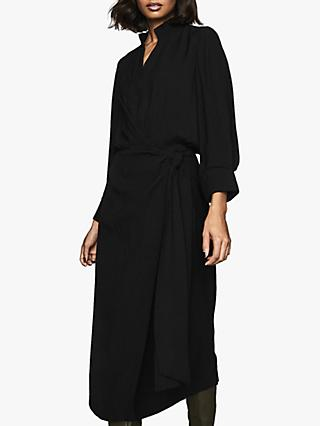 Reiss Priya Belted Wrap Midi Dress, Black