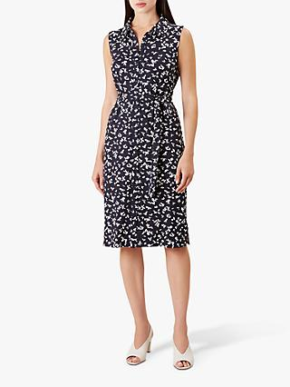 Hobbs Laurena Dress, Navy/Ivory