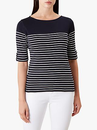 Hobbs Katie Cotton Top, Navy/White