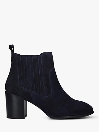 Carvela Comfort Result Suede Block Heeled Ankle Boots, Navy