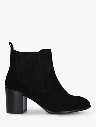 Carvela Comfort Result Suede Block Heeled Ankle Boots, Black
