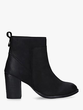 Carvela Comfort Real Block Heeled Leather Ankle Boots, Black