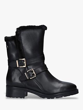 Carvela Comfort Roxi Buckle Detail Leather Ankle Boots, Black
