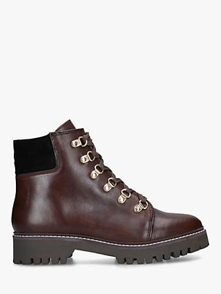 Carvela Stolen Leather Lace Up Hiker Boots, Dark Brown