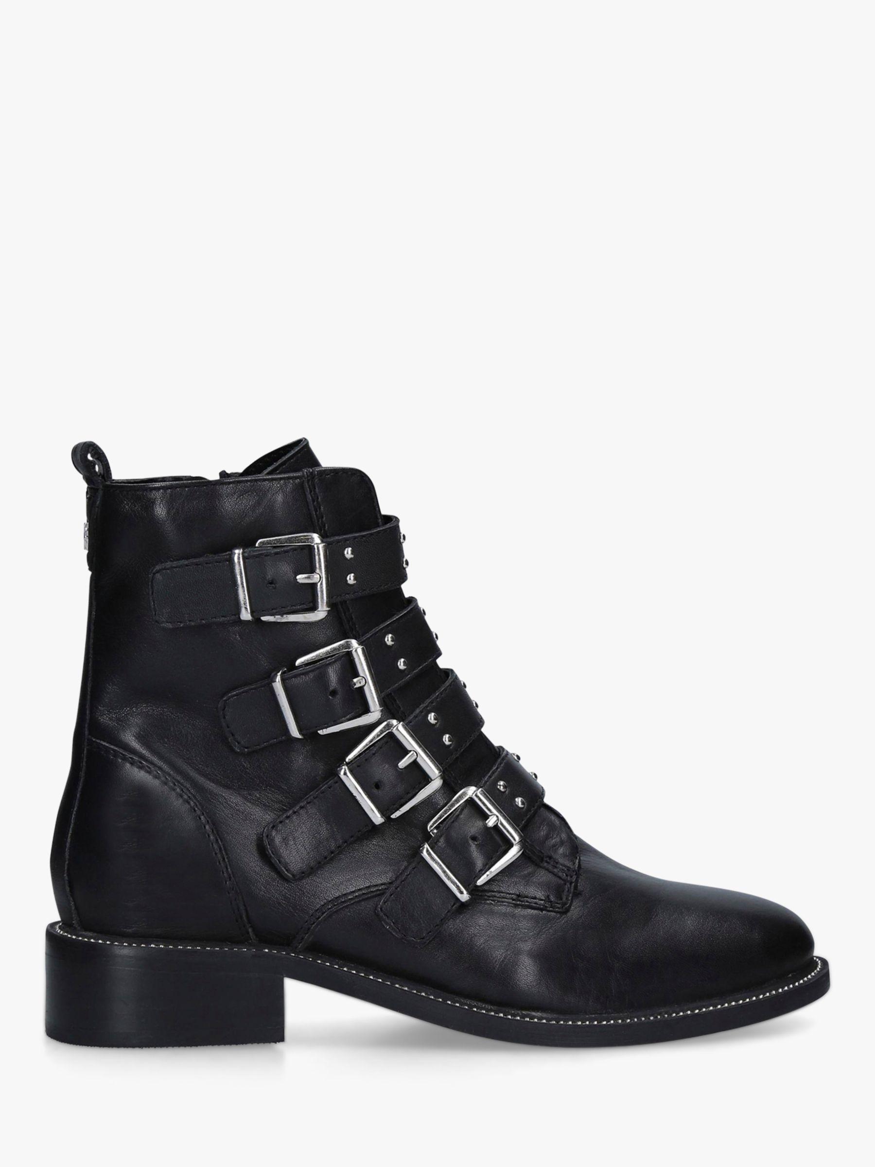 Carvela Carvela Strap Leather Buckle Biker Boots, Black