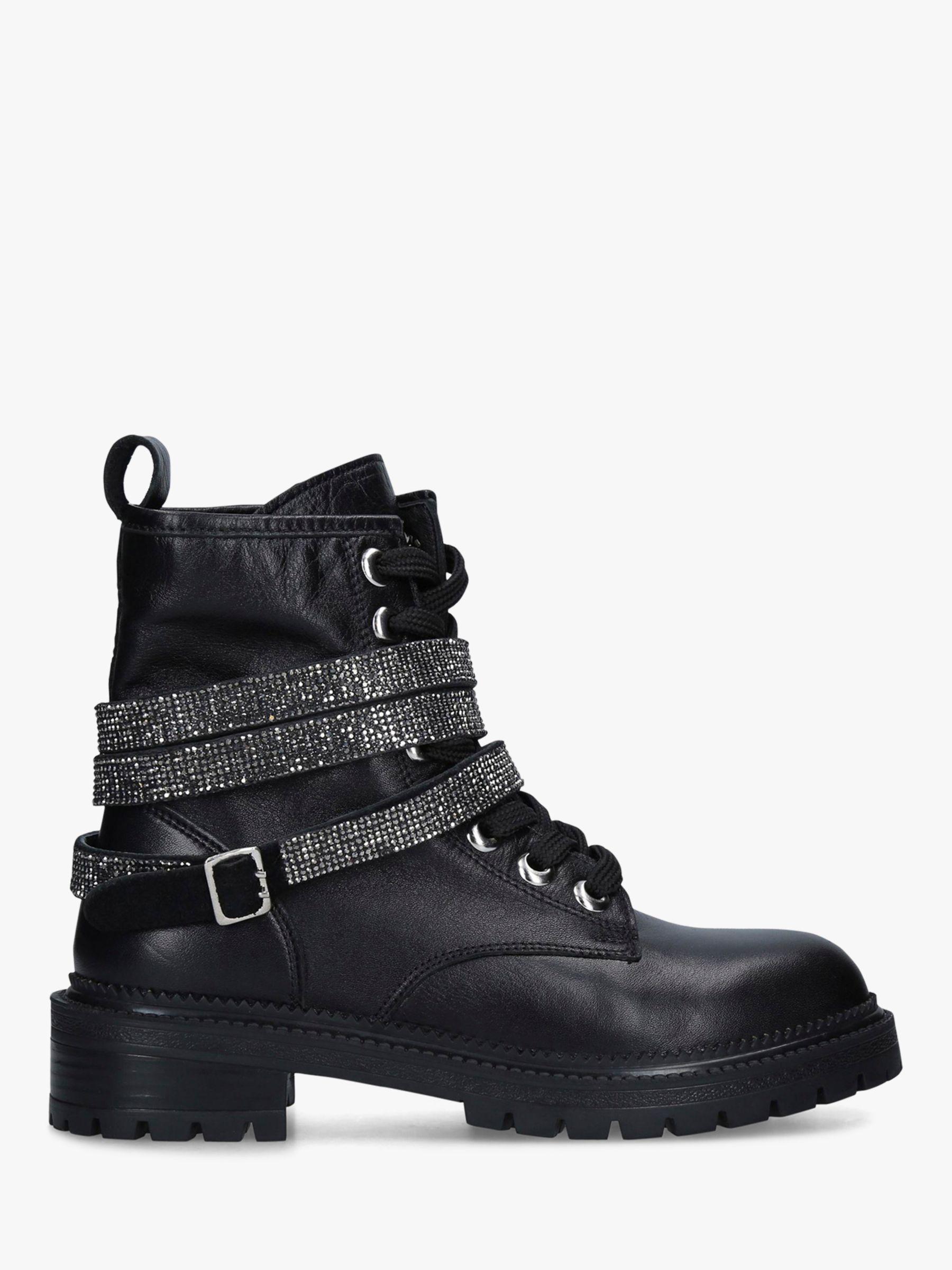Carvela Carvela Tuxedo Leather Embellished Strap Biker Boots, Black